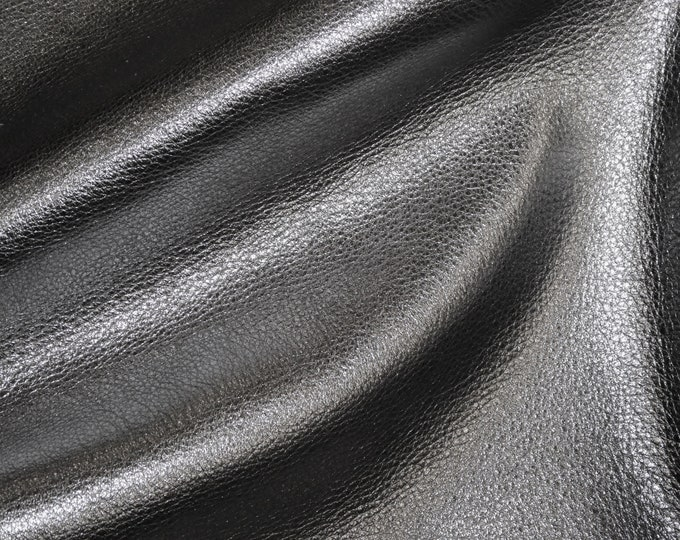 "GUNMETAL Pebbled Metallic 12""x12"" SOFT cowhide - shows the grain - Leather 3-3.25 oz / 1.2-1.3 mm PeggySueAlso™ E4100-20 Hides Available"