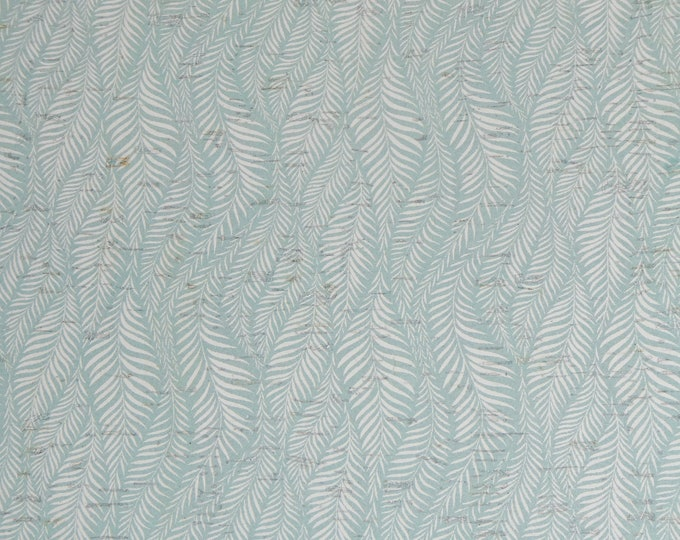 """Cork 12""""X12"""" WAVING FOLIAGE SEAFOAM and white CoRK applied to real leather Thick 5.5oz/2.2mm PeggySueAlso E5610-268"""