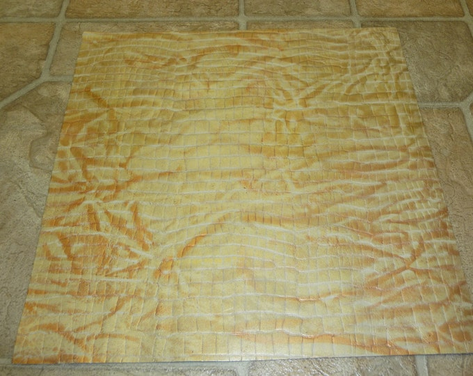 "Leather 8""x10"" Metallic Gold and Copper Reptile Embossed Cowhide Hide - PeggySueAlso"