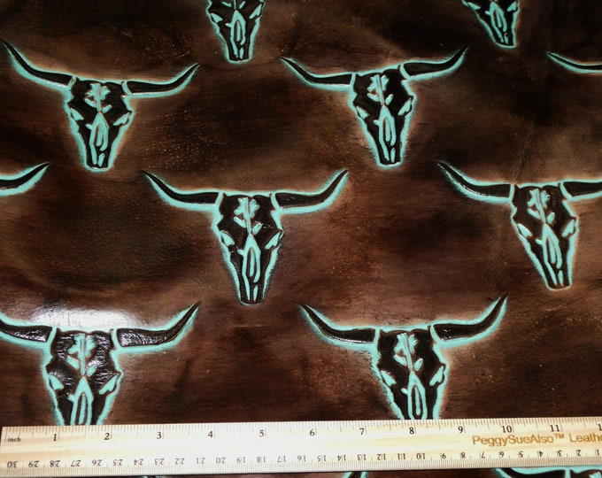 """Leather 12""""x20+"""" Texas LONGHORN Cattle Skulls Seal BROWN / Turquoise  Cowhide 2.5-3 oz /1-1.2 mm PeggySueAlso™ E2400-05 Hides Available"""