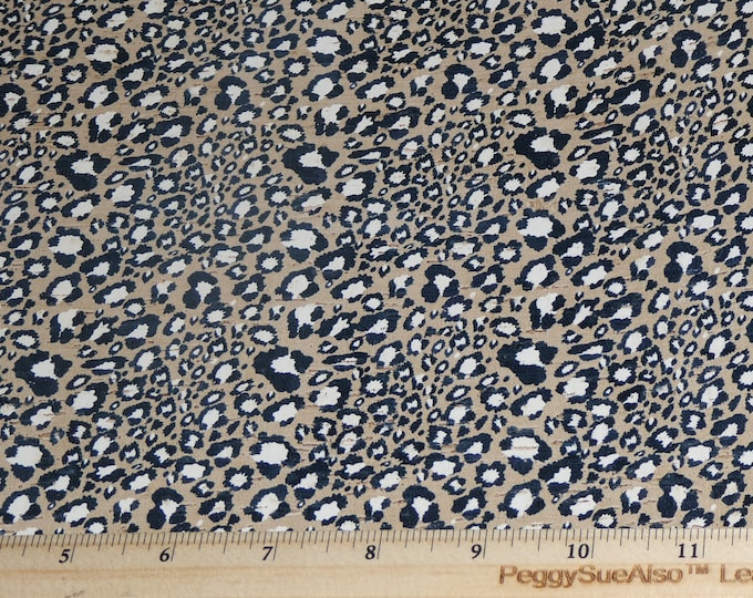 "RESTOCKED CORK version 8""x10"" Black and White Leopard Print on Tan Cork applied to Cowhide Thick 5oz/2mm PeggySueAlso™ E5610-122"