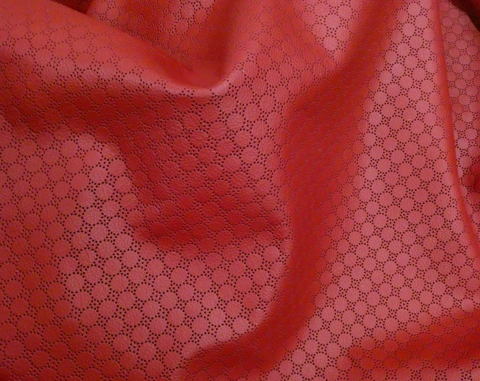 "Leather 5""x11"" Swiss Dot Perforated RED Cowhide 2.75-3 oz / 1.1-1.2 mm #726 PeggySueAlso™ E7100-02 Limited"
