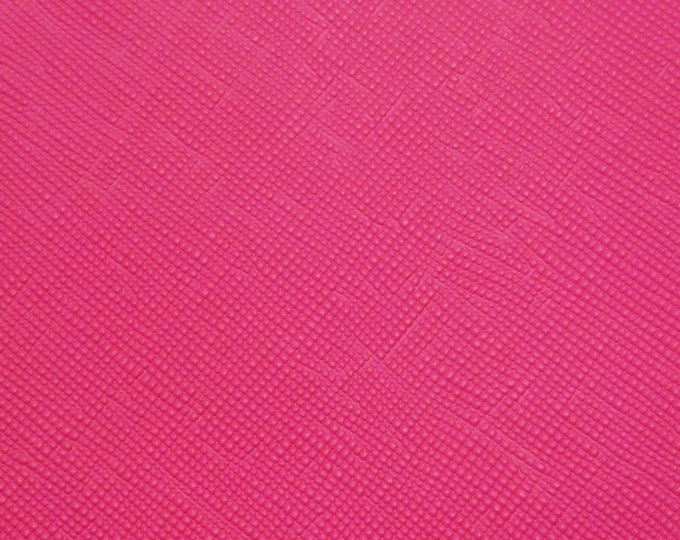 "Saffiano 12""x12"" NEARLY NEON Hot PINK Matte Weave Embossed Cowhide Leather 2.5-3oz/ 1-1.2mm PeggySueAlso™ E8201-55 hides available"