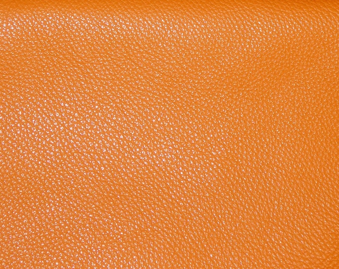 "New Leather 12""x12"" Imperial BURNT ORANGE Fully Finished Pebble Grain Thick yet soft Italian Cowhide 3.75-4oz/1.5-1.6mm E3205-18"