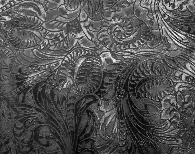 """Leather 12""""x20"""" Western Tool Floral leaf BLACK & CHARCOAL Embossed Cowhide 3.5 oz/1.4mm PeggySueAlso™ E2838-18 Hides too"""