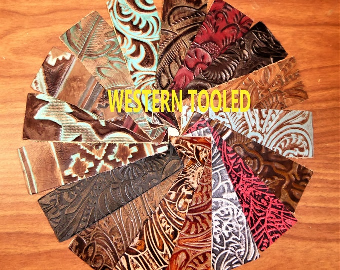 "Leather 12""x20"" WESTERN Tooled Floral and Leaf, TEXAS Rose, and NAVAJ0 cowhide 17 colors to choose from 2.5-3.5 oz /1-1.4 mm PeggySueAlso™"