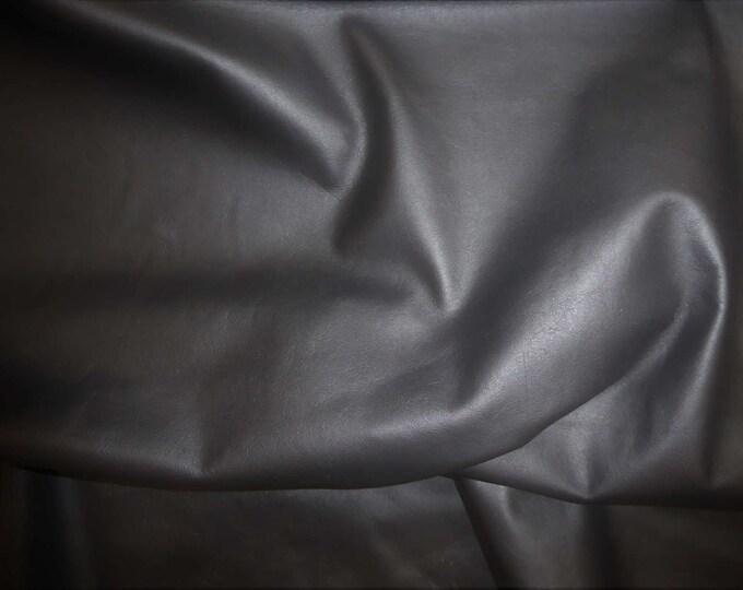 "Leather 12""x12"" Plonge BLACK Garment grade Full grain thin Cowhide 1.75-2.25 oz/.7-1.1 mm PeggySueAlso™ E2843-04  Full hides available"
