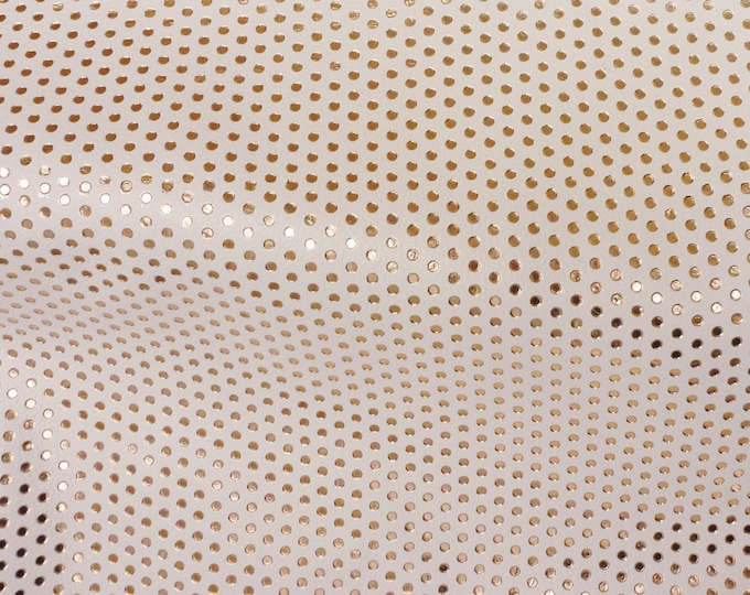 "Metallic Leather 12""x20"" 15""x15""... Small ROSE GOLD Polka Dots on WHITE Cowhide 3.5-4 oz / 1.4-1.6 mm PeggySueAlso™ E3090-22 Full Hides too"