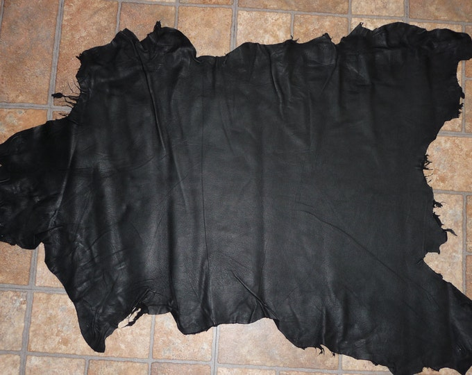 Goatskin Leather 4 to 5 sq ft Matte Black fine grained Leather Hide (similar to the pictured hide) 2-2.5 oz / 0.8-1 mm PeggySueAlso™