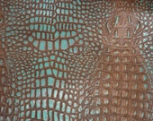 Leather 12 quot x12 quot Crocodile COCOA Brown and TURQUOISE Croc Embossed Cowhide 2.5-3 oz 1-1.2 mm PeggySueAlso E2860-26