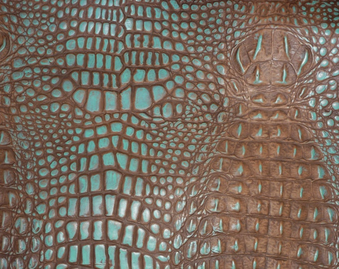 Leather 3 sq ft ALLIGATOR Cocoa Brown and TURQUOISE ALLIGATOR / Croc Embossed Cowhide  2.5-3 oz/1-1.2 mm PeggySueAlso™ E2860-26