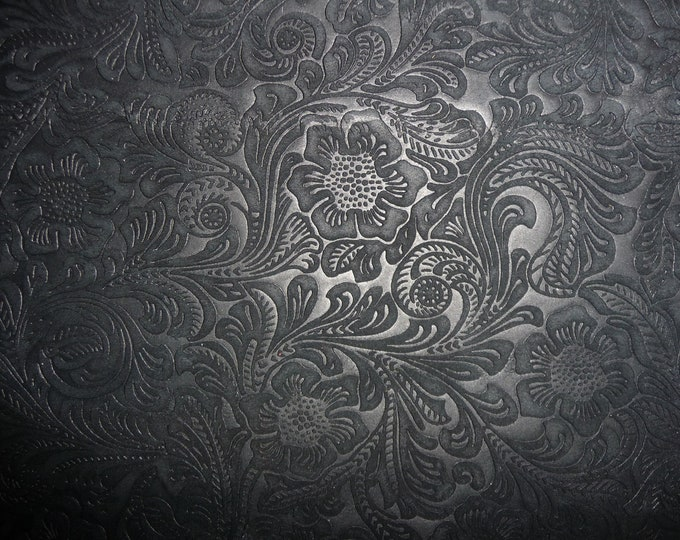 """SUEDE Leather 12""""x12"""" Etched Daisy BLACK Floral Cowhide No shine, Matte  3.5 oz / 1.4 mm PeggySueAlso™ E2875-06 Full hides available"""