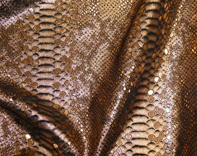 """Precut Metallic Leather 12""""x20"""" Mystic Python ROSE GOLD on BLACK Cowhide 3-3.25 oz/ 1.2-1.3 mm #647 PeggySueAlso™ E2868-08 hides available"""