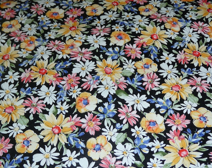 """Leather 5""""x11"""" Black Flower Garden COWHIDE multicolored Floral pattern Cowhide 2-2.5 oz /0.8-1 mm #350 PeggySueAlso™ E2176-01A limited"""