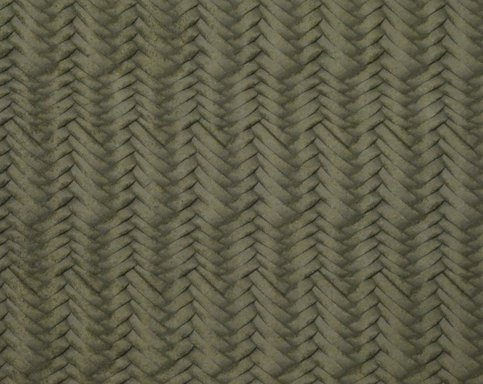 "Leather 8""x10"" Braided Fishtail KHAKI / OLIVE Green Cowhide Soft USA 3.25-3.5oz/1.3-1.4mm PeggySueAlso™ E3160-49 hides available"