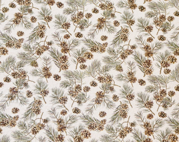 "Leather 8""x10"" TINY PINE CONES on white Cowhide 3-3.5 oz/1.2-1.4 mm PeggySueAlso™ E4805-08 Winter Collection"