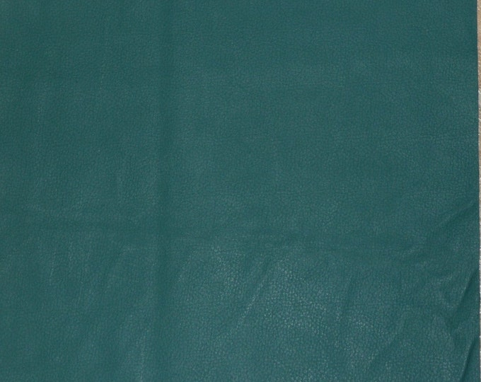 """Leather CLOSE0UT 2 pieces 5""""x11"""" Matte Spruce Green / Deep Teal ECONOMY Upholstery 2.75 oz / 1.1 mm -pieces may have permanent wrinkles"""