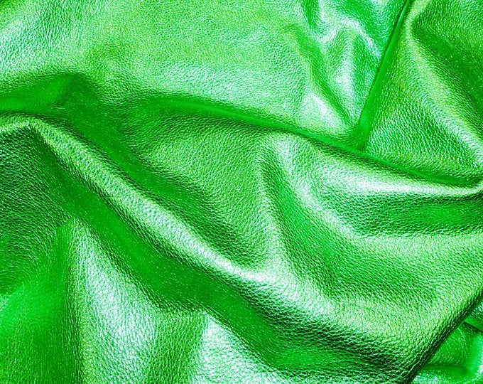 """Pebbled Metallic 8""""x10"""" EMERALD CITY GREEN - shows the grain - cowhide Leather 3 oz / 1.2 mm PeggySueAlso™ E4100-13"""