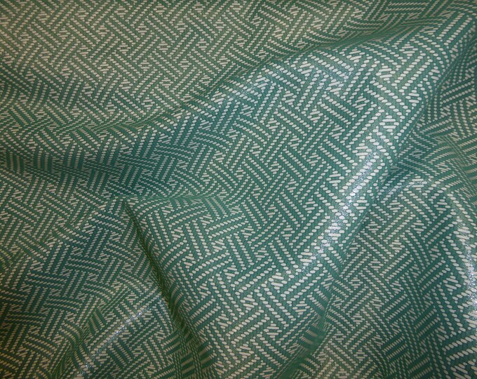 "Leather 8""x10""  Double Basket Weave SEA GREEN and WHITE Cowhide 3.5 oz / 1.4 mm PeggySueAlso™ E1602-03 Limited"