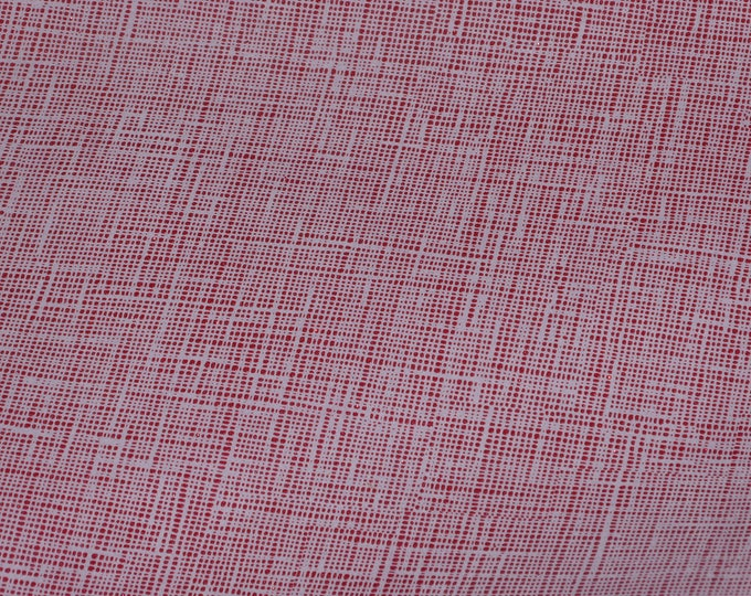 "Leather 8""x10"" TWO TONE Saffiano look RED Glitter Linen Weave Very Soft Cowhide 3-3.5 oz/1.2-1.4 mm PeggySueAlso™ E8201-28"