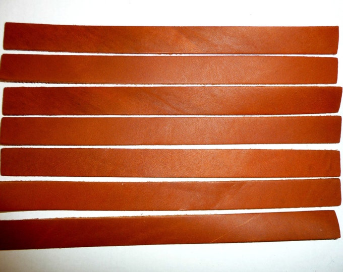 "THICK LEATHER 7 Strips LATIGO Cowhide 7.75"" x 5/8"" 7 oz /2.8 mm Tack Repair strap PeggySueAlso™ M2206 (color may be darker or lighter)"