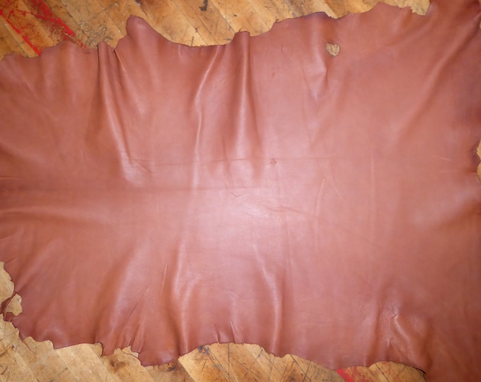 Leather 7 - 7.75 sq ft Matte Chestnut Brown GOATSKIN Hide (READ DESCRIPTION) 2.25-2.5oz / 0.9-1mm PeggySueAlso™ E2787-01
