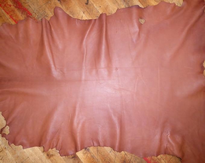 Leather 7 - 7.75 sq ft Matte Chestnut Brown GOATSKIN Hide (READ DESCRIPTION) 2.25-2.5oz / 0.9-1mm PeggySueAlso™ E2787-01