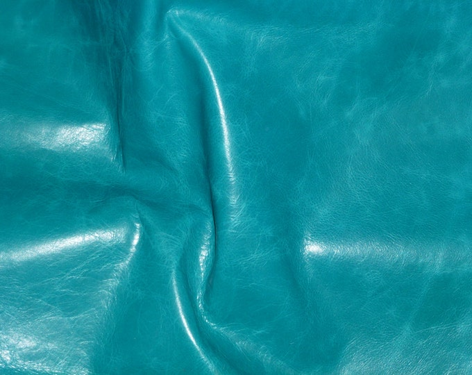 "Leather 12""x12"" RIVIERA Pull-up effect TURQUOISE Aniline Dyed Cowhide 2.5-3 oz /1-1.2 mm PeggySueAlso™ E2932-10"
