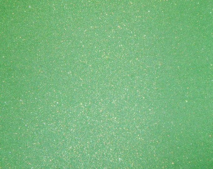 "8""x10"" Fine GLITTER (not chunky) MINT GREEN Fabric applied to Leather THiCK 5-5.5oz/ 2-2.2 mm PeggySueAlso™ E4355-24"