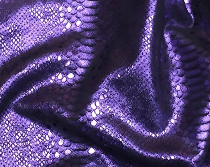 """Metallic Leather 12""""x12"""" Mystic Python PURPLE Grape on BLACK Cowhide 3.5 oz / 1.4 mm PeggySueAlso™ E2868-71 hides available"""