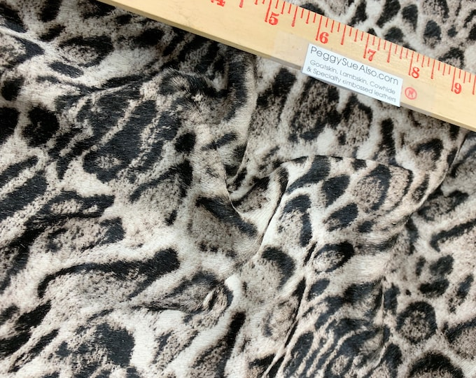"NeW Hair On Leather 12""x12"" SNOW LEOPARD Soft Fur Cowhide (not pretty backside) 4 oz/ 1.8 mm PeggySueAlso™ E2851-04 HOH"
