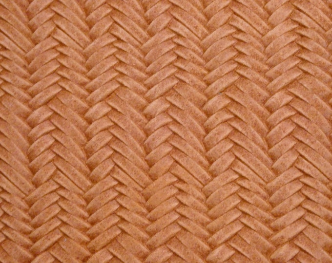 "Leather 12""x12"" Braided ITALIAN Fishtail PEACH Cowhide 2.5-3 oz / 1-1.2 mm PeggySueAlso™ E3160-07 hides available"