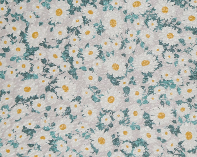 """Leather 5""""x11""""  SIMPLY DAISIES White gray teal mustard cowhide 3-3.25oz /1.2-1.3 mm #100 PeggySueAlso™ E1671-03"""