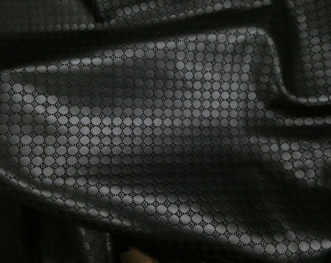Leather 3+ sq ft Swiss Dot Perforated BLACK Cowhide 2.75-3 oz / 1.1-1.2 mm PeggySueAlso™ E7100-05 hides available