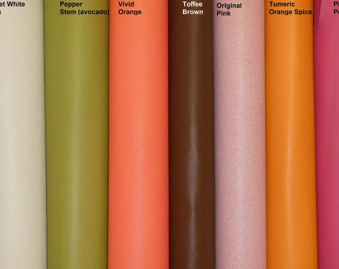 "PANTONE COLORED Saffiano Leather 12""x12"" Weave Embossed Cowhide 2.5-3oz/ 1-1.2mm PeggySueAlso™ E8201 Hides Available"