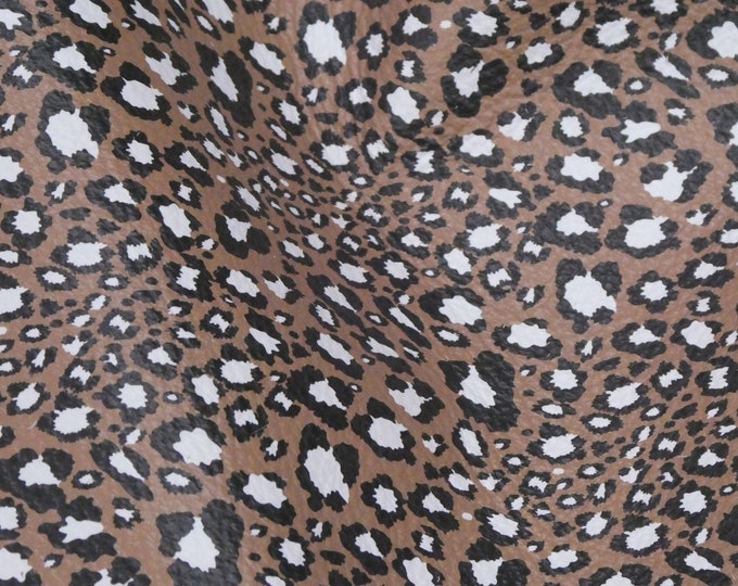 "Leather 5""x11"" Black and White Leopard Print Grain on Brown NOT hair on Cowhide 3-3.25oz /1.2-1.3 mm PeggySueAlso™ E2504-01 hides available"