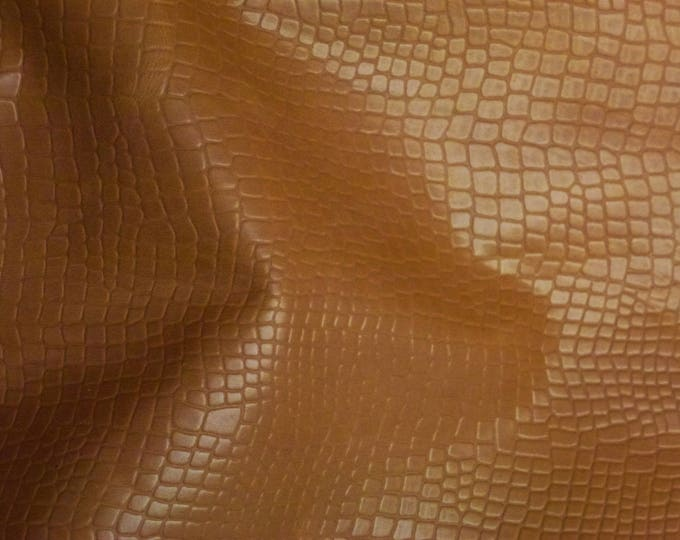 """Leather 8""""x10"""" REPTILE Honey RIVIERA Pull-up effect Aniline Dyed Cowhide 2.5 oz /1 mm PeggySueAlso™ E2935-03"""