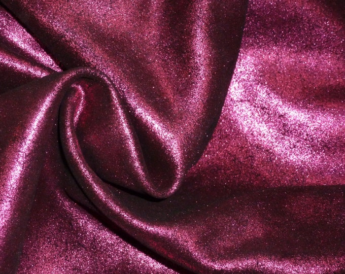 """Leather 12""""x12"""" Vintage Crackle MAGENTA / Hot Pink Metallic on BLACK Cowhide 3-3.5 oz/1.2-1.4mm  PeggySueAlso™ E2844-10 Full hides available"""