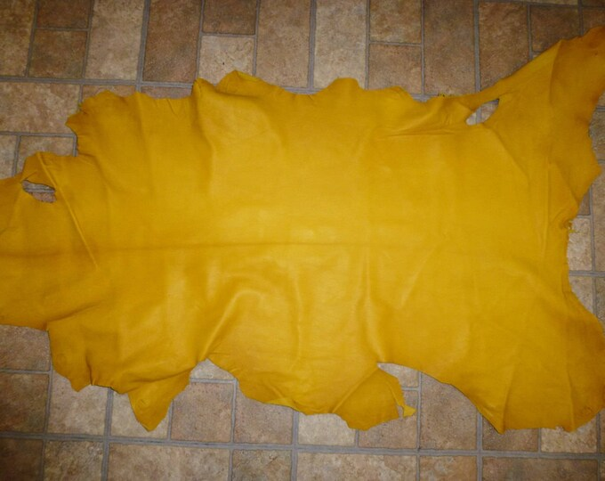 Leather 6 to 7 sq ft Yellow Gold Cationic GOATSKIN Hide (not the pictured hide, a very similar one) 2.25-2.5oz / 0.9-1mm PeggySueAlso™
