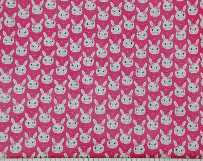 """Leather 5""""x11"""" Cute Easter Bunnies on Hot Pink Cowhide 3-3.5 oz/1.2-1.3 mm #100 PeggySueAlso™ E1380-06 Hides Available"""