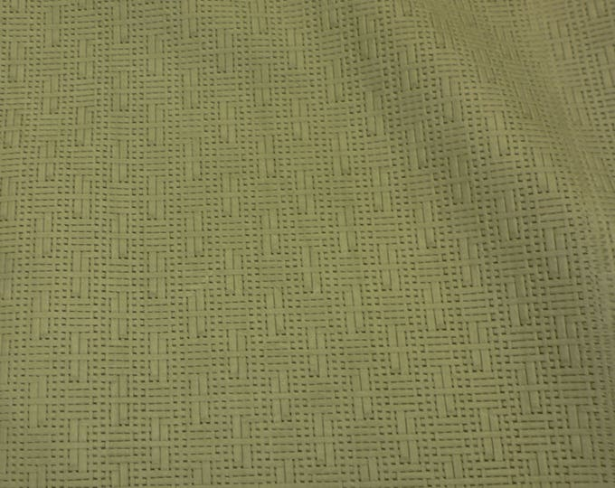 Leather CLOSEOUT Panama ASPARAGUS  Green Basket Weave Embossed Cowhide 2-2.5 oz/0.8-1 mm #100 #512 #332 PeggySueAlso™ E8000-09