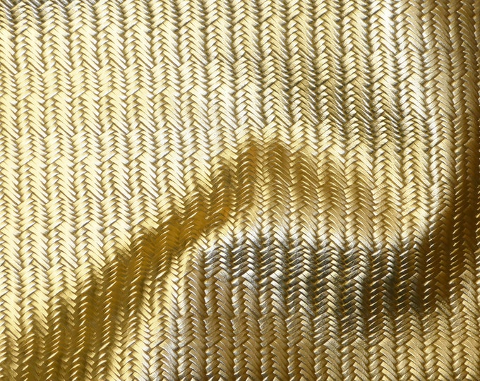 "Metallic Leather 12""x12"" Braided Fishtail GOLD Cowhide THINNER 2.5-3oz/1-1.2 mm PeggySueAlso™ E3160-17 hides Available"