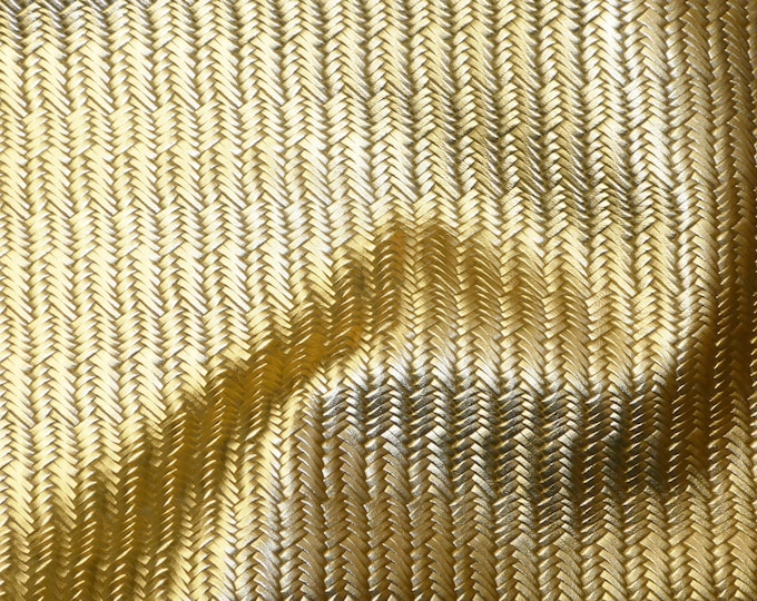 "Metallic Leather 5""x11"" Braided Italian Fishtail GOLD Cowhide 3-3.5 oz / 1.2-1.4 mm PeggySueAlso™ E3160-17"