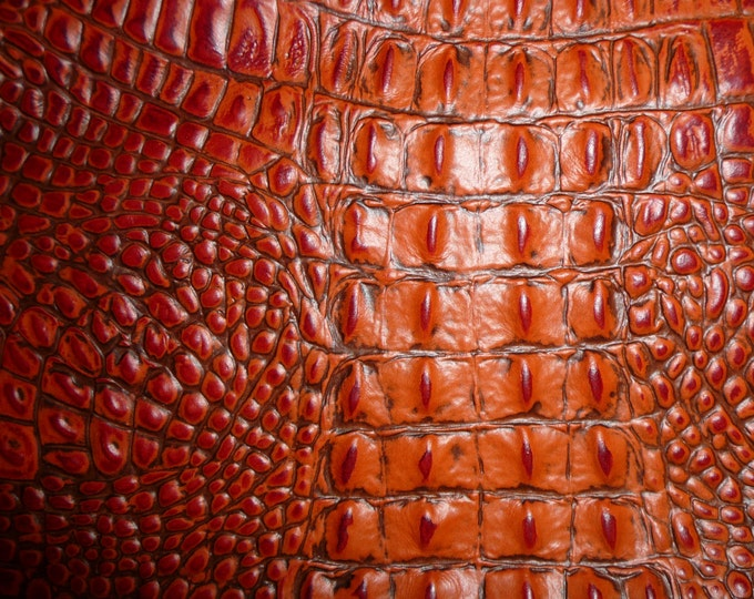 """Leather 12""""x12"""" Alligator BURNT ORANGE Gator Embossed Cowhide 2.75-3 oz/ 1.1 - 1.2mm PeggySueAlso™ E2860-02 hides available"""
