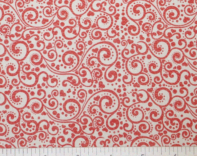 "Leather 5""x11"" RED Valentine Paisley Heart on White squares Cowhide 2.5-3 oz/ 1-1.2 mm #524 PeggySueAlso™ E1380-03 limited"