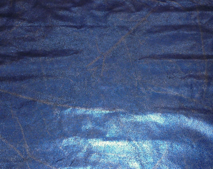 "Metallic Leather CLOSEOUT 8""x10"" Mosaic Distressed Blue thin PIGSKIN 1 oz / .4 mm #451 PeggySueAlso™"