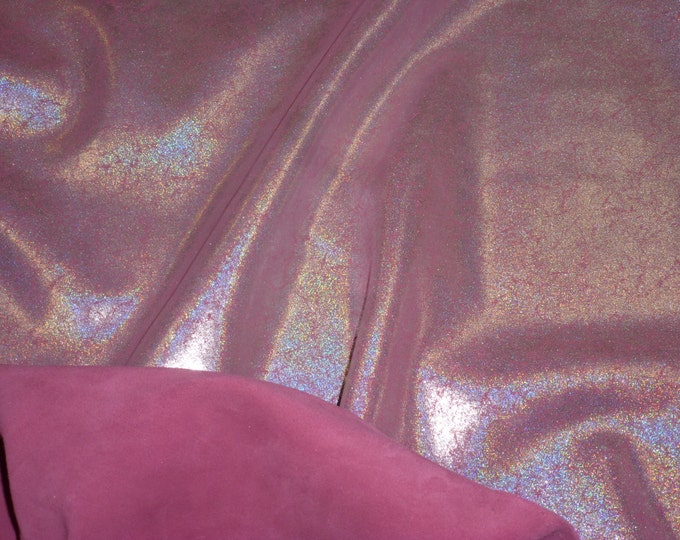 Metallic Leather 3 or 4 or 5 or 6 sq ft Vintage Crackle SILVER Halo  on FUCHSIA Cowhide 3 oz / 1.2 mm PeggySueAlso™ E2844-19