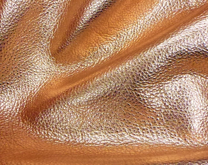 "COPPER Pebbled Metallic 12""x20"", 15""x15"" ...SOFT cowhide shows the grain Leather 3-3.25 oz / 1.2-1.3 mm PeggySueAlso™ E4100-10"