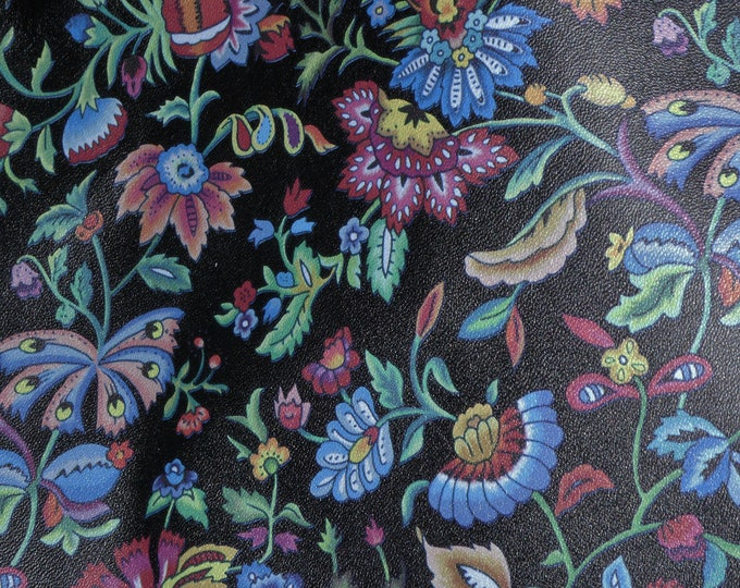 """Leather 8""""x10"""" PHOENIX SPRINGTIME wild Flowers on BLACK Cowhide 2-2.5 oz/ 0.8-1 mm PeggySueAlso™ E1090-07 Full hides available"""