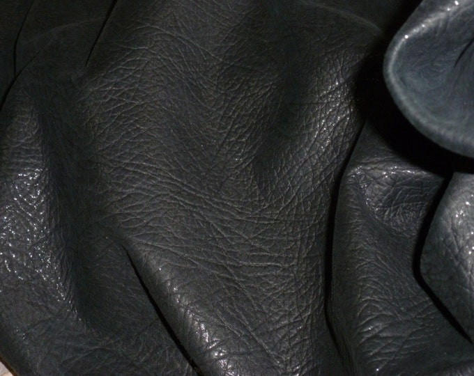 "Leather CLOSE0UT size 12""x12""  Bison Look SHINY BLACK Metallic Tipped on BLACK embossed Cowhide #126 3 oz / 1.2 mm PeggySueAlso™ E8115-04"